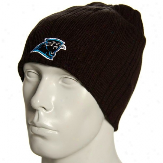 Carolina Panther Hat : Reebok Carolina Panther Black Block Knit Reversible Beanie
