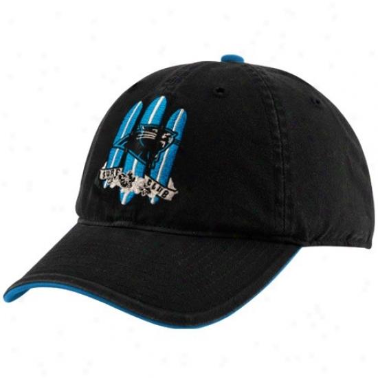 Carolina Pamther Hats : Reebok Carolina Panther Black Surf Club Adjustable Slouch Hafs