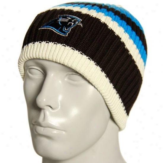 Carolina Panther Hats : Reebok Carolina Panther Natural Team Color Striped Knit Beanie