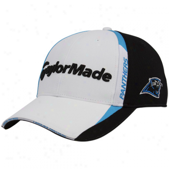 Carolina Panther Hats : Taylormade Carolina Panther White-black 2010 Nfl Golf Adjustable Haats