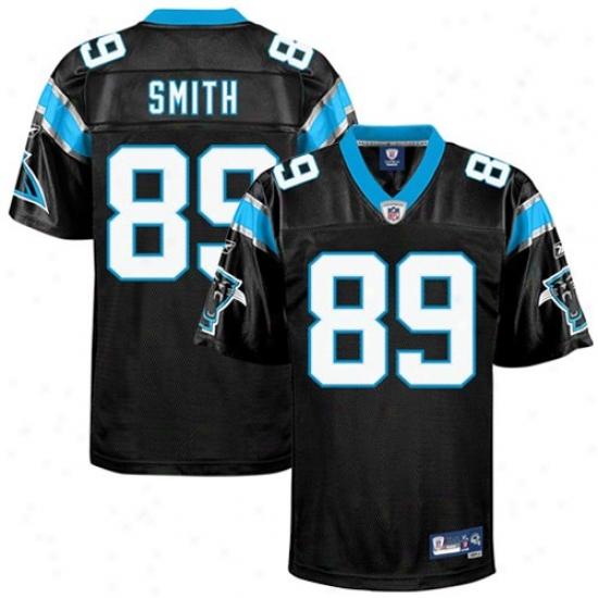 Carolina Panther Jersey : Reebok Nfl Accoutrement Carolina Panther #89 Steve Smith Blac kPremier Football Jersey