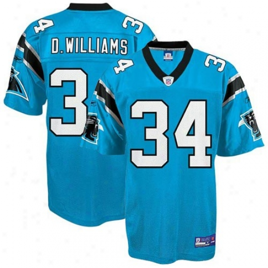 Carolina Panther Jersey : Reebok Nfl Equipment Carolina Panther #34 Deangelo Williaks Boy Panther Bleu Replica Football Jersey