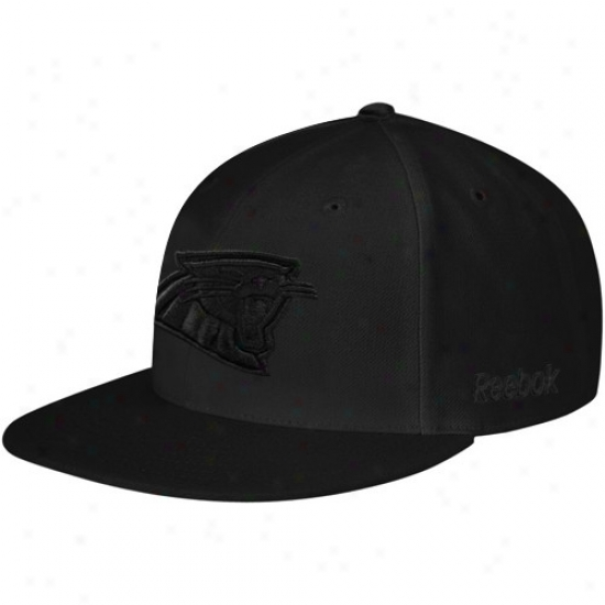 Carolina Panther Merchandise: Reebok Carolina Panther Black Fashion Fitted Hat