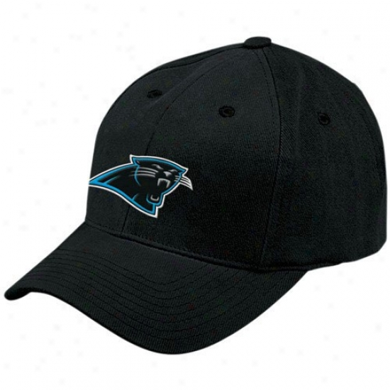 Carolina Panther Merchandise: Reebok Carolina Panther Black Basic Logo Adjustable Hat