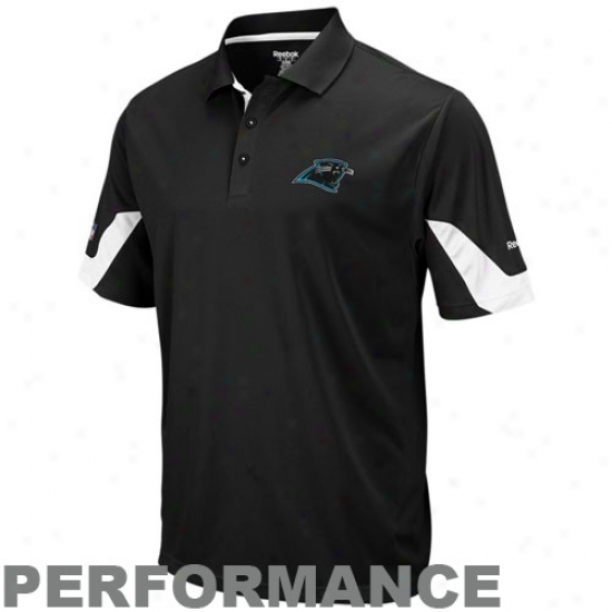 Carolina Panther Polo : Reeboj Carolina Panther Black-white Sideline Team Performance Polo