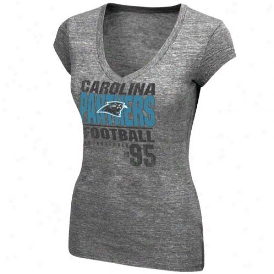 Carolina Panther Shirt : Carolina Panther Ladies Charcoal Victory Play V-neck Sgirt