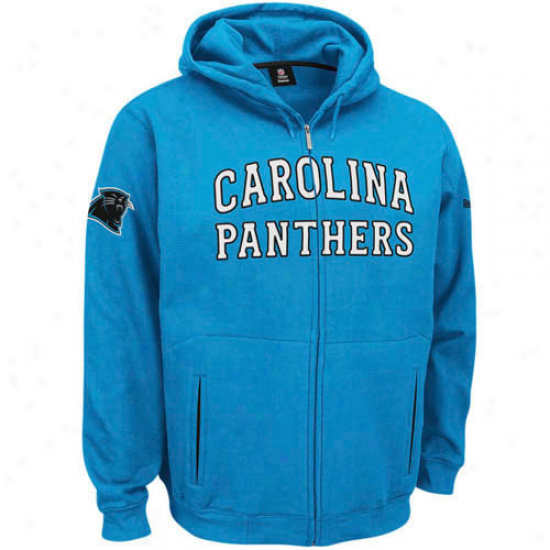 Carolina Panntther Sweatshirts : Reebok Carolina Panther Carolina Blue Overtime Full Zip Sweatshirts