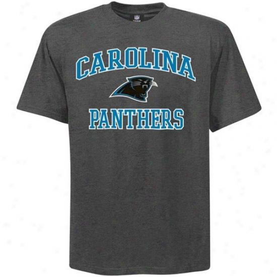 Carolina Panther T Shirt : Carolina Panther Charcoal Heart And Leader T Shirt