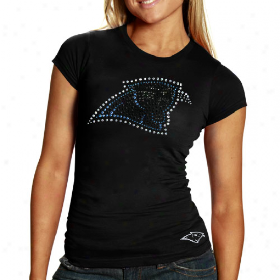 Carolina Panther T-shjrt : Reebok Carolina Panther Ladies Black Rhinestone Logo Premium T-shirt