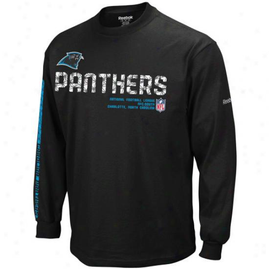 Carolina Panther T-shirt : Reebok Carolina Panther Black Sideline Tacon Long Sleebe T-shirt