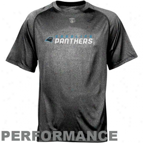 Carolina Panther Tees : Reebok Nfl Accoutrement Carolina Panther Black Sideline Speedwick Performance Heathered Tees