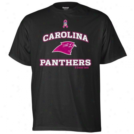 Carolina Paanthers Apparel: Reebok Carolina Panthers Dark Heart Cancer Awareness Ts-hort