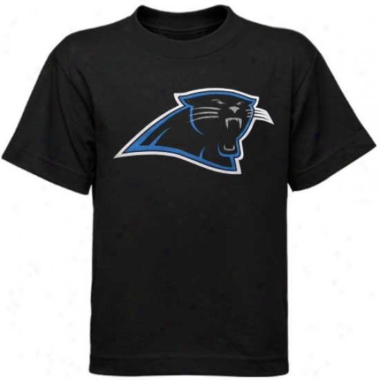 Carolina Panthers Apparel: Reebok Carloina Panthers Toddler Black Primary Logo T-shirt