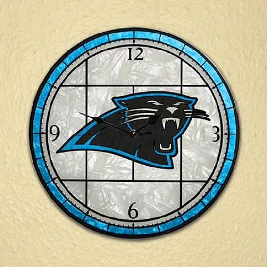 Carolina Panthers Art-glass Clock