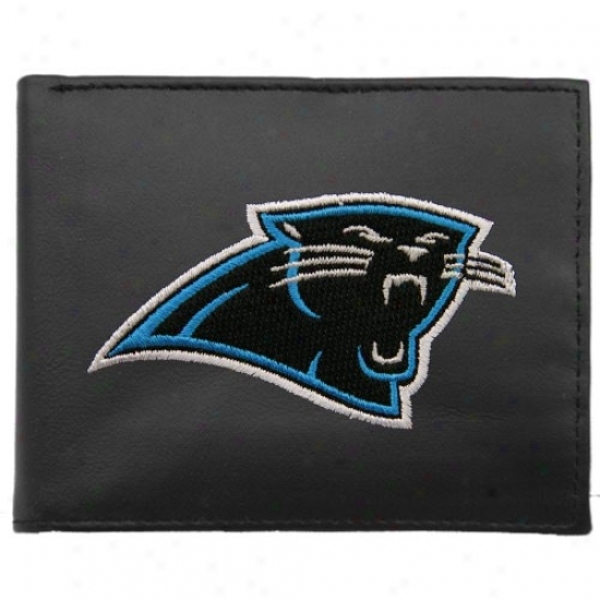 Carolina Panthers Black Embroidered Billfold Wallet