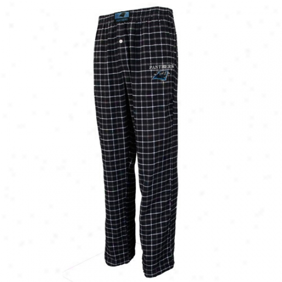 Carolina Panthers Black Plaid Gridiron Flannel Pants