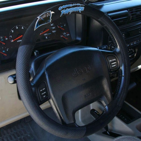 Carolina Pajthers Black Poly Suede & Mesh Steering Wheel Cover