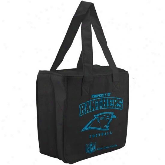 Carolina Panthers Black Reusable Insulated Tote Sack
