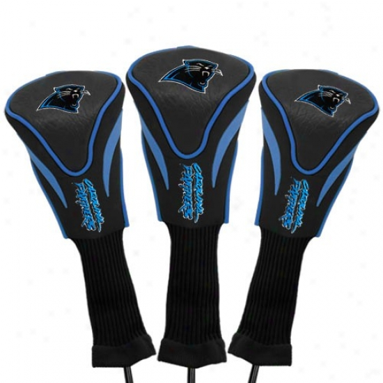 Carolina Panthers Black Three-pack Golf Club Headcovers