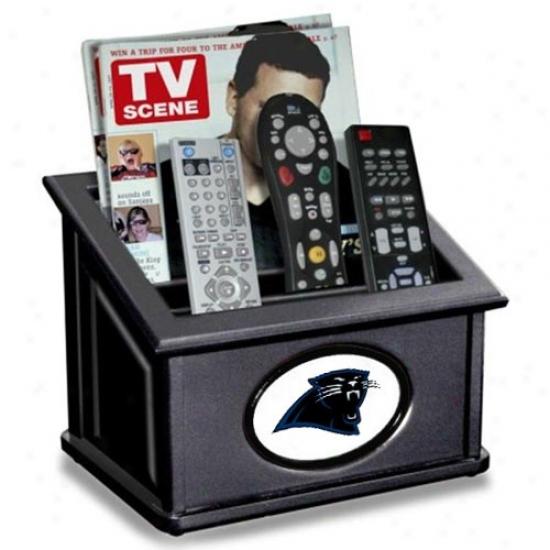 Carolina Panthers Black Wooden Team Logo Media Organizer