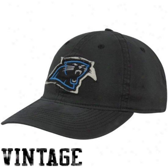 Carolina Panthers Hat : Reebok Carolina Panthers Black Distressed Logo Slouch Flex Fit Hat