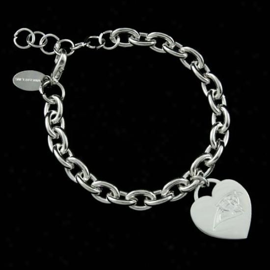 Carolina Panthers Ladies Silver Heart Charm Bracelet