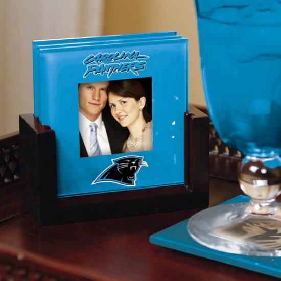 Carolina Panthers Light Blue 4-pack Poto Coaster Set