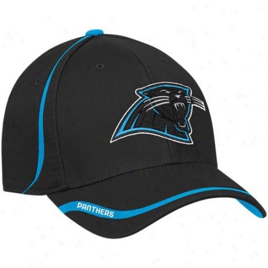 Carolina Panthers Merchanddise: Reebok Carolina Panthers Black Coaches Flex Hat
