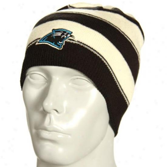 Carolina Panthers Merchandise: Reebok Carolina Panthers Stone Cuffless Thick Striped Reversible Knit Beanie