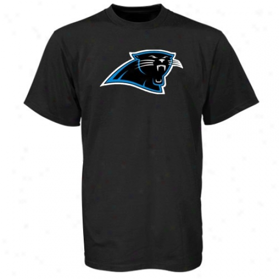 Carolina Panthers Shirts : Reebok Carolina Panthers Black Logo Premier Shirts