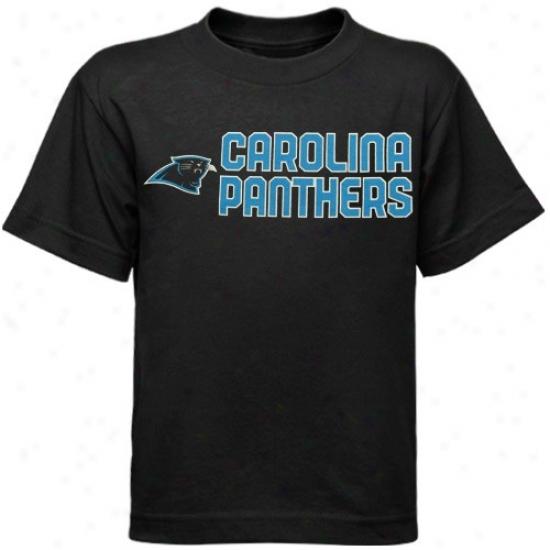 Carolina Panthers T Shirt : Reebok Carolina Panthers Preschool Black Summer Stack T Shirt