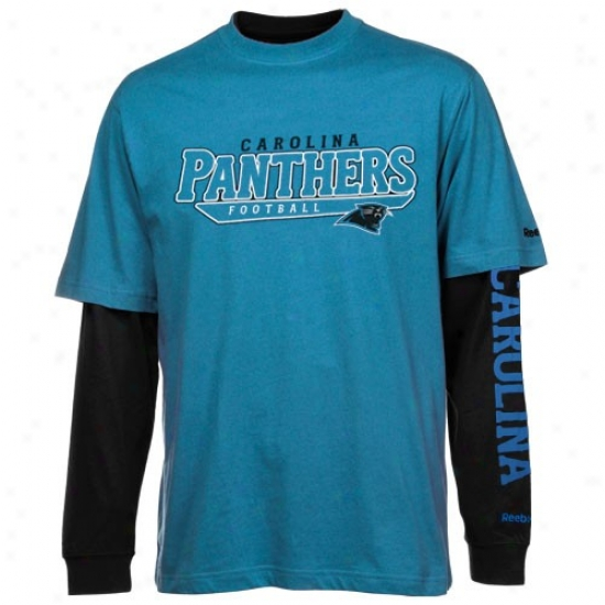 Carolina Panthers T-shirt : Reebok Carolina Pannthers Panther Blue-black Option 3-in-1 T-shirt Combo Pack