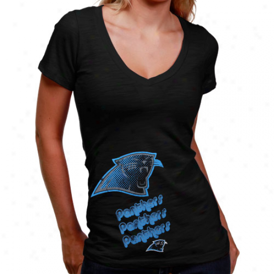Carolina Panthers Tee : Carolina Panthers Ladies Black Triple Play V-nefk Slub Tee