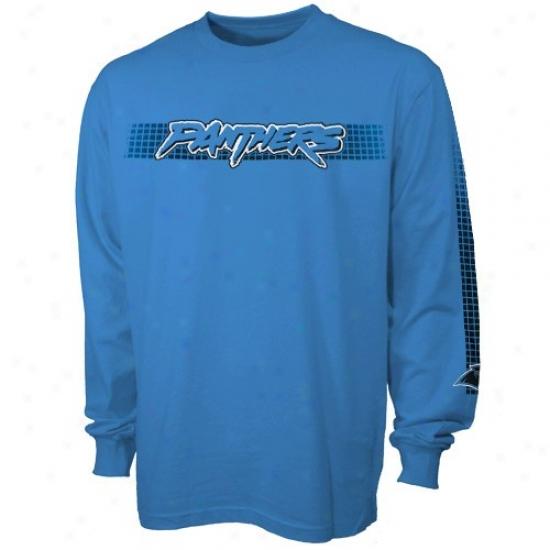 Carolina Panthers Tee : Carolina Panthers Panther Blue Flea Flicker Long Sleeve Tee