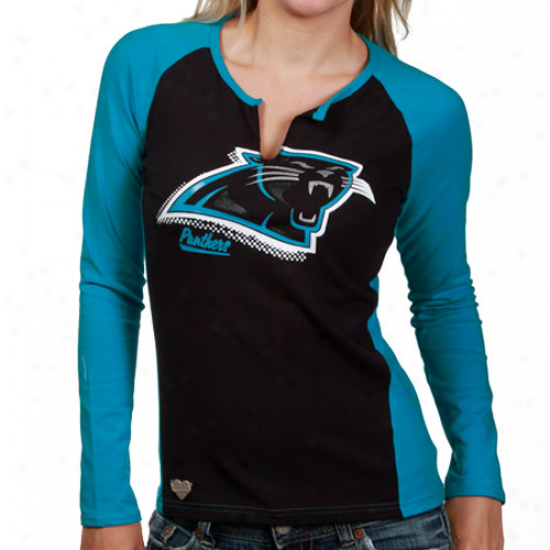 Carolina Pantheds Tshirt : Reebok Carolina Panthers Ladies Black-carolona Blue Two-toned Split Neck Lengthy Sleeve Tshirt