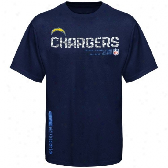 Chargers Attire: Reebok Chargers Youth Navy Blue Sideline Tacon T-shirt