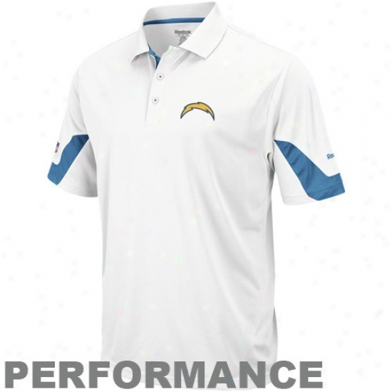Chargers Golf Shirt : Reebk Chargers White-light Blue Sideline Team Perfo5mance Golf Shirt