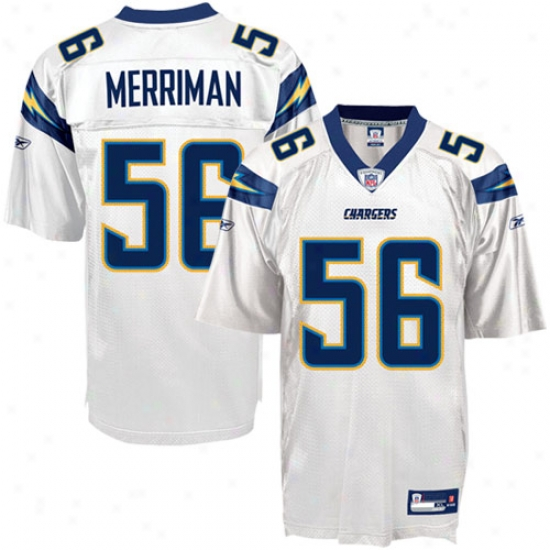 Chargers Jersey : Reebok Nfl Equipment Chargers #566 Shawne Merriman White Replica Football Jersey