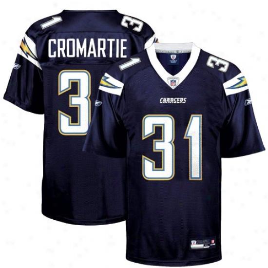 Chargers Jerseys : Reebok Nfl Equipment Chargers #31 Antoniio Cromartie Navy Blue Replica Football Jerseys