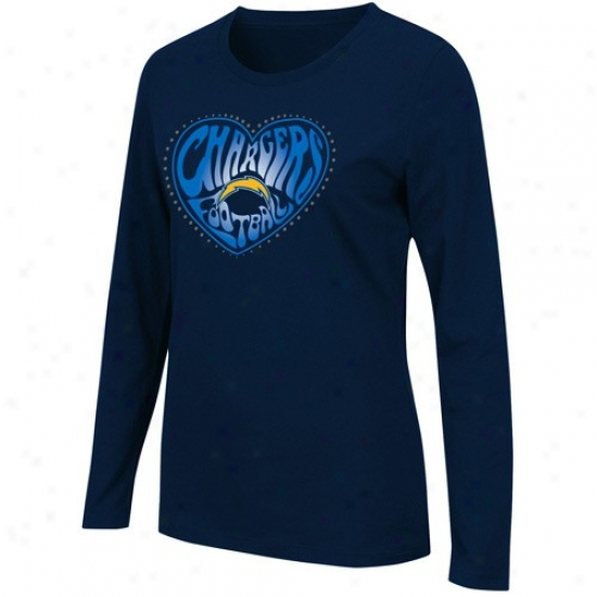 Chargers Shirts : Chargers Ladies Navy Blue Heart Of The Field Long Sleeve Shirts