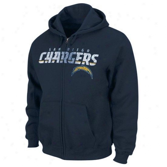 Chargers Sweat Shirt : Chargers Navy Blue Touchback Iii Full Zip Sweat Shirt