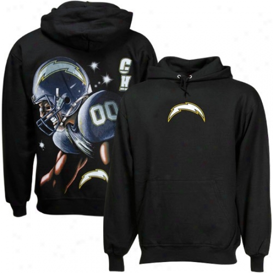 Chargers Sweat Shirts : Chargers Black Game Face Sweat Shirts
