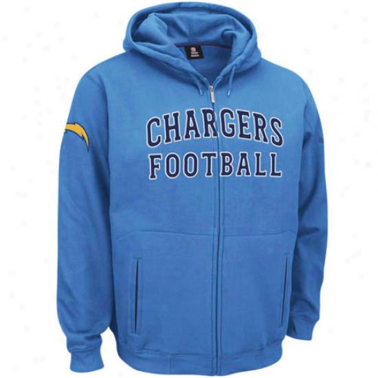 Chargers Sweatshirt : Reebok Chargers Light Blue Overtime Full Zip Sweatshirt