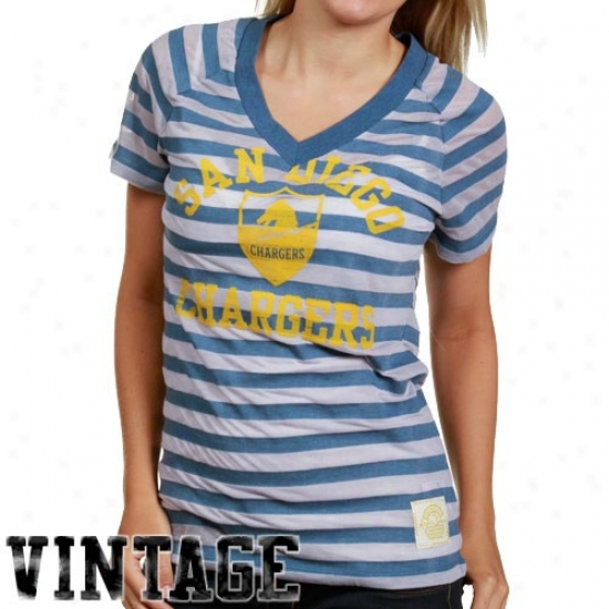 Chargers Tees : Reebok Chargers Ladies Navy Blue Retro Burnout Stripe Tees
