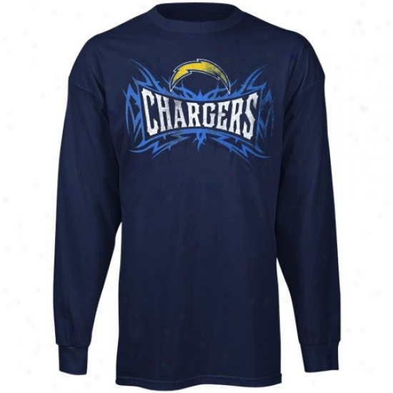 Chargers Tshirt : Reebok Chargers Navy Melancholy Outlast Brand Throughout Sleeve Tshirt