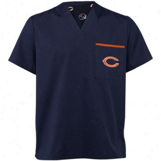 Chicago Bear Apparel: Chicago Bear Navy Blue Scrub Top