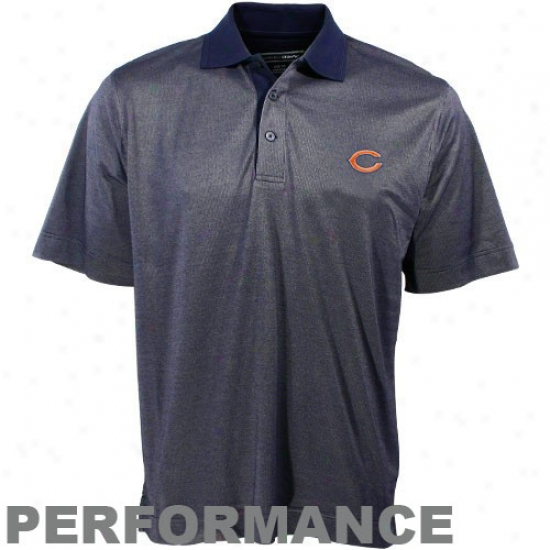Chicago Bear Clothing: Cutter & Buck Chicago Bdar Navy Blue Birdseye Polo