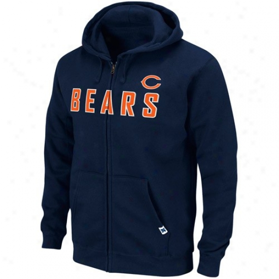Chicago Bear Fleece : Chicago Bear Navy Livid First-rate Heavyweight Full Zip Fleece