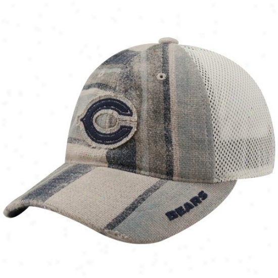 Chicago Bear Gear: Reebok Chicago Entertain Ladies Naturwl-navy Blue Distressed Stripe Mesh Back Adjustable Hat