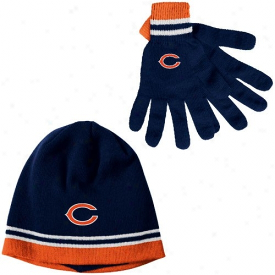 Chicago Bear Hat : Reebok Chicago Bear Navy Blue Gloves & Beanie Talent Set